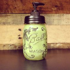 Green Mason Jar Soap Dispenser with Design