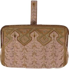 Vintage French Pink Beaded and  Embroidered Clutch Purse With Beaded Gold Tone Frame