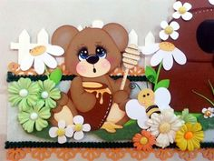 TWAG Rosa Spring bee bears 2 border set paper piecing tear bear scrapbooking