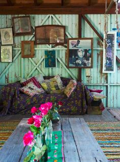 The perfect imperfect home. This is delightful use of color and texture for a living room or bedroom.