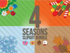 4 seasons clip art Bundle. Pay 3 seasons and get 4! Over 250 images!