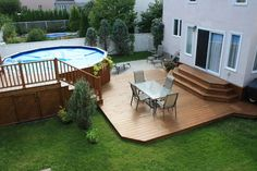 Montreal Porch Deck Design Ideas, Pictures, Remodel, and Decor - page 2 Pool Deck Plans, Patio Plans, Above Ground Pool Landscaping, Above Ground Pool Decks, Backyard Patio Designs, Backyard Landscaping, Decks Around Pools, Outdoor Deck Decorating, Intex Pool