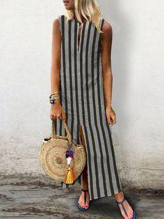 Kleider, Sommerkleid, V-Ausschnitt Streifen Frauen Sommerkleid Shift Daytime Slit Striped – Dress Modest Dresses, Nice Dresses, Casual Dresses, Maxi Dresses, Trendy Outfits, Summer Outfits, Fashion Outfits, Fashion Trends, Womens Fashion