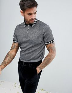 ASOS Polo Shirt In Silver Metallic Fabric With Silver Tipping And Ring