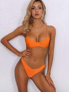 To find out about the Joyfunear Neon Orange Push Up High Cut Bikini Swimsuit at SHEIN, part of our latest Bikini Sets ready to shop online today! Push Up Swimsuit, Bikini Swimsuit, Hot Bikini, Daily Bikini, Bikinis For Teens, Bikini Ready, High Cut Bikini, Beachwear For Women, Lingerie