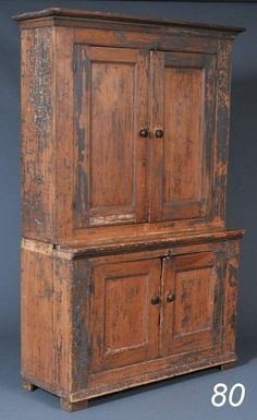COUNTRY STEPBACK CUPBOARD scraped to an old blue/gr                         ****