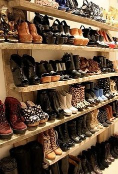 Erin Wasson's shoe collection. Shoe Shelf Diy, Shoe Shelves, Shoe Storage, Diy Shoe, Shelving, Shoe Racks, Storage Room, Garage Storage, 5 Inch And Up