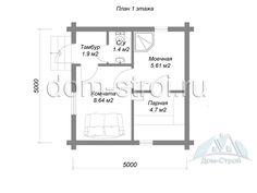 Проект: Баня из рубленного бревна 5х5м. 22.5 м2 – цена, характеристики, комплектация