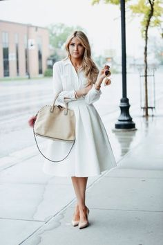 46 Gorgeous White Shirtdress Summer And Spring Outfits Ideas Sexy Outfits, Classy Outfits, Skirt Outfits, Fashion Outfits, Womens Fashion, Fashion News, Style Fashion, Fashion Sale, Paris Fashion