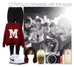 """OTRATour's rehearsal with the boys"" by vane-abreu ❤ liked on Polyvore featuring Topshop, NIKE, Fujifilm and ASOS"