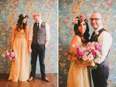 hippie wedding.. loveee the colors (makes me wanna switch theme) and the flower photo wall