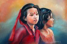 https://www.flickr.com/photos/62150651@N03/14699384948/   Nepali Friends - pastel de Monique Genain