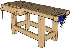 This workbench was built by editor Christopher Schwarz and was the cover project for issue 8 of Woodworking Magazine. SketchUp model by reader Kevin Murphy. Back issues and more information are available at the magazine website. Shop Work Bench, Sketchup Model, 3d Warehouse, Woodworking Magazine, Garage Storage, Picnic Table, Outdoor Furniture, Outdoor Decor, Drafting Desk