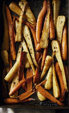 Roast parsnips and c