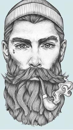 Pencil Art Drawings, Art Sketches, Marin Vintage, Desenhos Old School, Barbershop Design, Tatuagem Old School, Vector Portrait, Beard Tattoo, Arte Pop