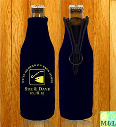 Customized Beer Bottle Koozies We ve Been Hooked by MintandLemon Baby Shower Quotes, Wedding Koozies, Couple Shower, Our Wedding Day, Personalized Wedding, Wedding Designs, Cool Designs, Beer Bottle, Couples