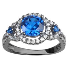 1 3/5 CT. T.W. Round-Cut CZ Prong Set Halo Fashion Ring in Sterling Silver - Blue, 5, Women's