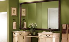 green walls + HUGE mirror,GREAT IDEA WITH VANITY! nOT sO mUCH ON THE gREEN 4 MY HOME