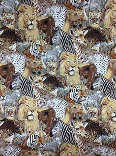 "Fabric Animal Print Bear Zebra Lion Tiger House N Home Designer Decorator 77x46"" #HouseNHomeInc"