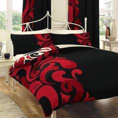 black and red bedding sets | Red Black White Comforter Sets