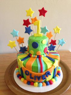 First Birthday Cakes - Bright first birthday cake