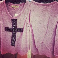 Studded Cross Top with Open Back