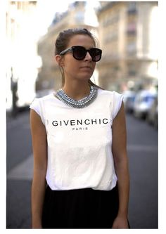 Givenchic White Short Sleeved Tshirt Unisex Model Fashion Look