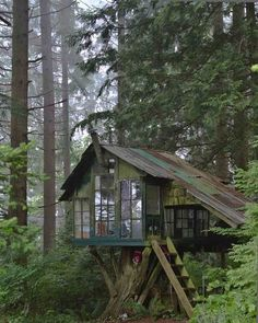 cabinporn: Treehouse at Pilchuck Glass School near Stanwood, WA. Submitted by Jason Warner. I think its super cool but hope they didn't cut that tree down to make it. Tiny House, Cool Tree Houses, Tree House Designs, Cabins And Cottages, Cabins In The Woods, Little Houses, Log Homes, Play Houses, Future House