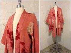 Silk Kimono   Haori   Vintage Art Deco   Robe Dressing Gown   Pink with Red 224456936