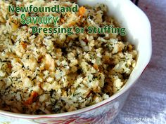 {Newfoundland recipes} they love their savoury. That's summer savoury to the rest of the world but we just call it savoury. We buy tons of the stuf. Canadian Dishes, Canadian Cuisine, Canadian Food, Canadian Recipes, Side Dishes Easy, Side Dish Recipes, Jigs Dinner, Turkey Stuffing Recipes, Newfoundland Recipes