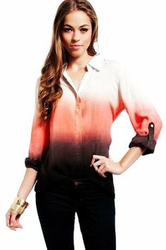 Color Fade Ombre Shirt For Women - Button Up Ombre Shirt For Women