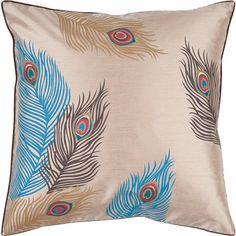 Peacock Blue Pillow Cover ($35) ❤ liked on Polyvore featuring home, home decor…