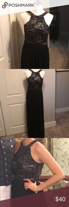 """Morgan and Co floor length dress. Worn once. Black lace overlay top and bottom is chiffon. There are a few black crystals in the top.  See photos for how the back is unique and very pretty.  Measures waist to floor 44"""". My daughter wore to a formal and she is 5'7"""".  She wore flats and it fit beautifully. Morgan & Co. Dresses Prom"""