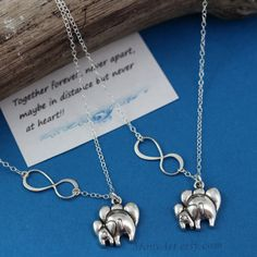 STERLING silver Elephant necklace, mother daughter necklace, Set of two necklaces, Silver Infinity Sisters Necklace. MONYART original design on Etsy, $58.80