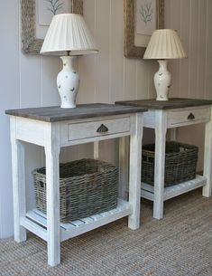 vintage white end tables with woven twig baskets to use at night stands!
