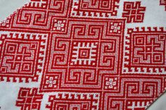 Handmade Ukrainian Traditional Embroidered RUSHNYK (towel). Can be used for wedding ceremony or simply for home decoration. Embroidered with red woolen floss for embroidery on the special whitened homespun canvas.  Very neat and scrupulous work. This Rushnyk will make your Wedding or your house interior unforgettable.  Size: nearly 200 cm X 33 cm, about 78.7 X 13.  If you need a Ukrainian Rushnik / Towel with another design, just let me know. I will send you 20-40 patterns for choosing a...