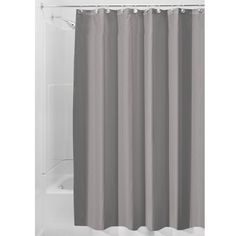 InterDesign Water-Repellent and Mildew-Resistant Fabric Shower Curtain, X - Extra Long, Gray Flower Shower Curtain, Shower Curtain Hooks, Fabric Shower Curtains, College Dorm Bathroom, Slippery Floor, Large Shower, Bathroom Cleaning, Mold And Mildew, Bathroom Flooring