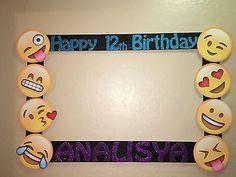 emoji photo birthday party booth frame prop any emoji - lilli Emoji Theme Party, Birthday Party Themes, Birthday Ideas, Photo Booth Frame, Picture Frames, Photo Booths, Emoji Photo Booth, Happy 12th Birthday, Birthday Frames