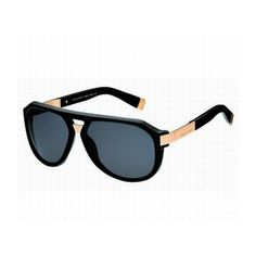 Dsquared² 0027 Aviator Sunglasses in Solid Black/Gold : Star Style ❤ liked on Polyvore