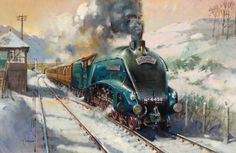 I was never a railroad buff. Perhaps should have been, given that my grandfather and uncle on my father's side were railroad men. Train Posters, Railway Posters, Uk Rail, Steam Art, Flying Scotsman, Nostalgic Art, Steam Railway, Bonde, Painting Snow