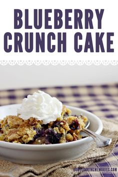 Easy Recipe: Blueberry Crunch Dump Cake.  Cooking this for church covered dish today.   Yummy. Using can blueberry pie filling. 4-21-13