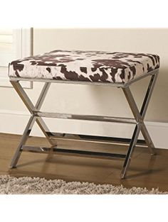 Coaster Home Furnishings 500118 X-Shaped Bench Ottoman, Cow Print, Chrome Base ❤ Coaster Home Furnishings