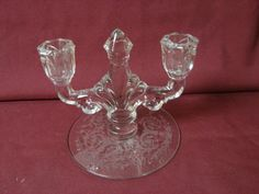 Heisey Glass Vintage Patterned 2 light Candle Holder