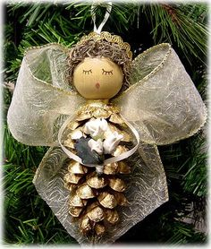 Large Gold Pine Cone Ornament - Wire Ribbon Wings