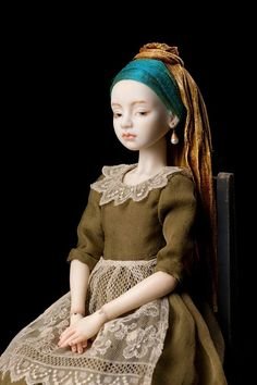 """handmade porcelain doll jointed """"Girl with a Pearl Earring."""" Handmade handmade porcelain doll jointed """"Girl with a Pearl Earring. Ball Jointed Dolls, Ooak Dolls, Barbie Dolls, Girl With Pearl Earring, Pearl Earing, Enchanted Doll, Polymer Clay Dolls, Paperclay, Doll Repaint"""