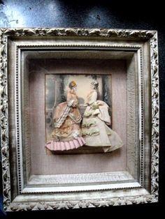 ANTIQUE LES MODES PARISIENNES ILLUSTREE 3-D PRINT w/LADIES RIBBON WORK SHADOWBOX #HANDMADE