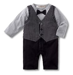 c0b1eb41a Amazon.com: StylesILove Baby Boy Bowtie Striped Vest Tuxedo Romper (6-12  Months, Black): Clothing