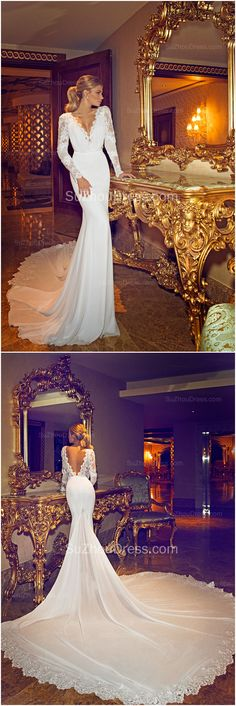 Chapel #Train V-Neck Mermaid #WeddingDress 2015 Long Sleeve Applique Open Back Bridal Gowns