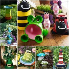 DIY Clay Pot Garden Craft Projects with Picture Instructions. Craft Own Whimsical Garden decorating by stacking and Painting with Clay Pots Clay Pot Projects, Clay Pot Crafts, Diy Clay, Craft Projects, Easy Crafts, Shell Crafts, Flower Pot Art, Flower Pot Crafts, Flower Pots