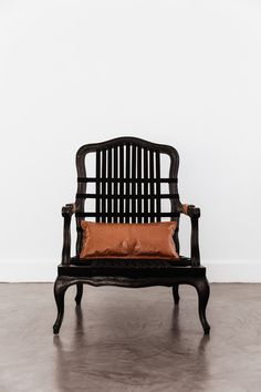 "Previously an ornate, textured chair once loved because of the ""original purple upholstery"". Existing frame stripped of timber texture and upholstery finished with satin black paint and offset with natural hemp webbing. Webbing applied in an uneven ratio allowing the use of negative space to draw attention to the piece and contrast between the old and the new.  Leather accents were added, from existing leather, as removable arm cuffs and a lumber back cushion. Arm Cuffs, Negative Space, Outdoor Furniture, Outdoor Decor, Hemp, The Selection, Upholstery, Contrast, Old Things"